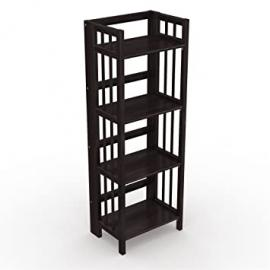 "Stony-Edge No Assembly Folding Bookcase, 4 Shelves, Media Cabinet Storage Unit, for Home & Office, Quality Furniture. Espresso Color. 16"" Wide. by Stony-Edge"