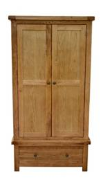 Canton Oak Double Wardrobe With Storage Drawer - 2 Door Gents Wardrobe Solid Hardwood - Bedroom Furniture