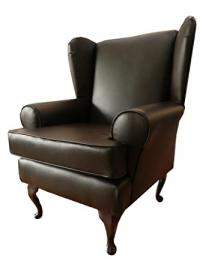 Queen Anne design wing back fireside high back chair in a quality Brown faux leather fabric...Ideal bedroom or living room furniture