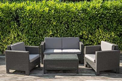 Dark Grey Rattan Four Piece Furniture Garden Set
