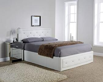 Hollywood Crystal Gas Lift Storage Bed 5ft King Size White Faux Leather