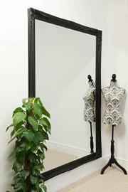 Extra Large Black Classical Style Bevelled Mirror
