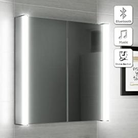 600 x 650 Illuminated LED Bathroom Mirror Cabinet + Shaver Socket Bluetooth Speaker