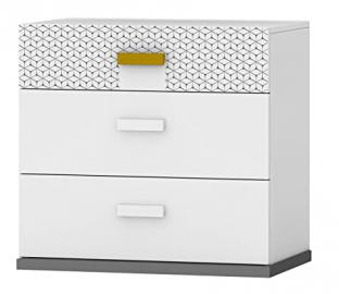 Geo Chest of Drawers with UV Printed, 71 x 67 x 45 cm, White