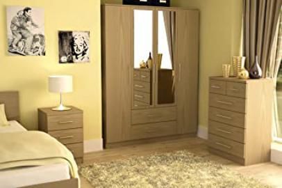 Haten Oak 3 Piece Trio Bedroom Set
