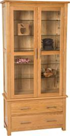 Hermosa Berlin Display Cabinet with Clear Lacquer Finish, Solid Oak/Glass, Natural Oak, 90 x 40 x 185 cm