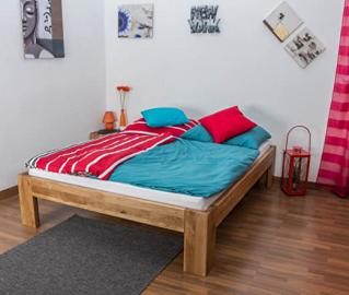 Double Bed Wooden Nature 92, solid wild oak, oiled - 160 x 200 cm