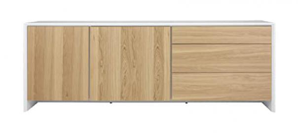 Tenzo PROFIL Designer Sideboard, 80 x 220 x 47 cm, White/Oak