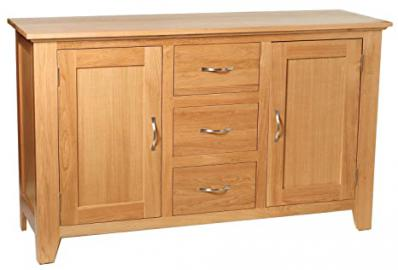 Camberley Oak 2 Door 3 Drawer Large Sideboard with Light Oak Finish| Wide Wooden Storage Cupboard | Cabinet with flexible storage