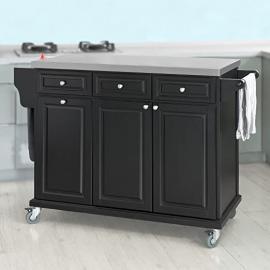 SoBuy® FKW33-SCH, Black Luxury Kitchen Island Kitchen Storage Trolley Cart, Kitchen Cabinet with Stainless Steel Worktop