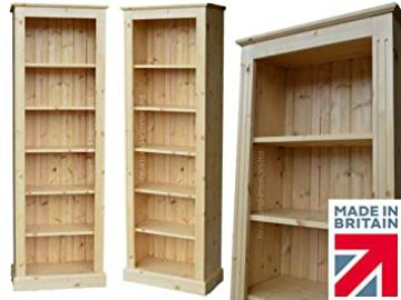 Solid Pine Bookcase, 6ft x 2ft Handcrafted & Waxed Adjustable Display Storage Shelving Unit. Bookshelves. Choice of Colours. No flat packs, No assembly (BK62)