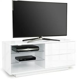 """Centurion Gallus High Gloss White with 2-White Drawers & 3-Shelf 26""""-55"""" LED/ OLED / LCD TV Cabinet - Fully Assembled"""