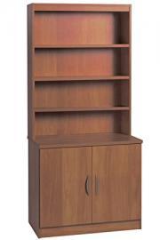 Home Office Furniture UK Cupboard Cabinet Bookcase with Doors HUTCH, Wood, Teak, wood Grain Profile, 2-Piece