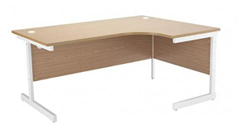 Office Hippo Ideal Right Corner Desk, 180 cm - White Frame/Oak Top