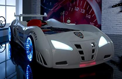 Police 3ft super car bed - LED LIGHTS + SOUND - White - Childrens kids boys beds