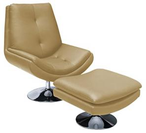 Premier Housewares Genoa Chair and Footstool - Dark Cream