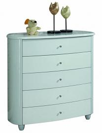 Birlea Aztec 5-Drawer Wide Chest - High Gloss, White
