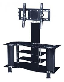 Furniture Express TV Stand with 2 Drawers and a Shelf, Glass, Brown, 140 x 40 x 140 cm