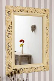 Ivory Vintage Ornate Carved Wood Mirror