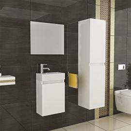 Bathroom Furniture Basin & Cabinet High Cabinet/Mirror Design/White