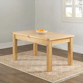 Valencia Oak Stylish 150 x 90 Butterfly Extension Dining Table, Lacquered Finish
