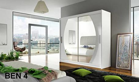 WARDROBE BEN 4 WHITE 180 cm wide 2 sliding doors many colours