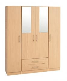 Treat Your Home Harriett 4 Door and 2 Drawers Plus Mirrors Wardrobe, Wood, Beech
