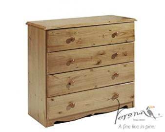 Verona Design Verona Chest Of Drawers,Solid Antique Pine Wood Finish With Lilac Drawer Front