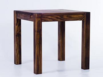 Brasil Rio Kanto Furniture Dining Table, Solid Pine Wood Oiled and Waxed Oak Antique Cognac, L x w x h: 80x 80x 78cm