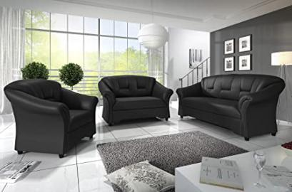 3+2 Seater Texas Sofas Black Faux Leather