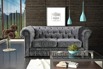 LoveSofas Brand New Silver Grey Modern Crushed Velvet Fabric Chesterfield 2 Seater Sofa