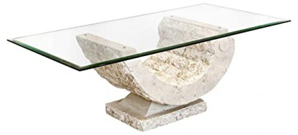 Coral Coffee Table with Fine Mactan Stone Base and Tempered Glass Top