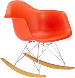 Vitra 4401130003 RAR Eames Plastic Armchair Rocking Chair Chrome Frame Red