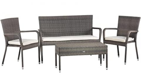 Oseasons Winchester 4-Seater Rattan Furniture Walnut Garden Patio Deep Seating Set