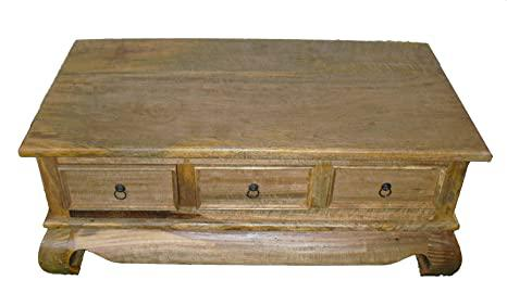 Coffee table solid wood 3 drawer from light mango wood