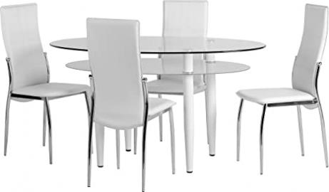 Seconique Berkley Dining Set with 4 White Chairs - Clear Glass/Frosted Glass/White/White Faux Leather/Chrome