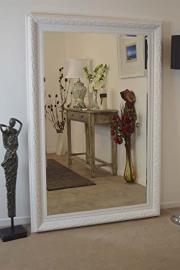 Full Length White Elegant Bevelled Resin Mirror