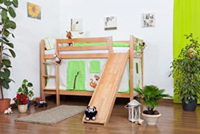 Children's bed / Bunk bed Moritz solid, natural beech wood, includes slide, includes slatted frame - 90 x 200 cm