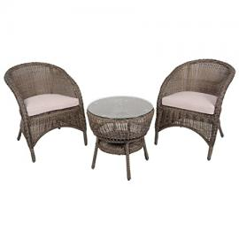 Azuma 3 Piece Marseille Wicker Rattan Garden Bistro Furniture Table & Chair Set
