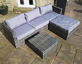 Rattan Outdoor 4 Seat Corner Sofa Patio Garden Furniture in Grey