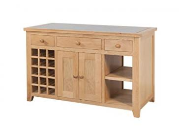 Devon Solid Oak Kitchen Island with Granite Top / Natural Oak Lacquer Fully Assembled Kitchen Island / Living Room Furniture / Hallway Furniture / Dining Room Furniture / Bedroom Furniture