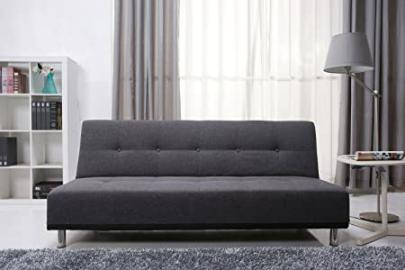 Leader Lifestyle Duke Fabric Futon Sofa Bed, Pebble Grey