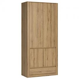 Furniture To Go Hobby 2 Door 1 Drawer Wardrobe, Wood, Oak Melamine