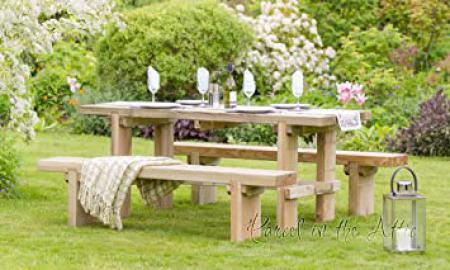 Elche Solid Wood Outdoor Furniture Garden Dining Bench - 10 Year warranty against rot (Table & 2 Bench Set)