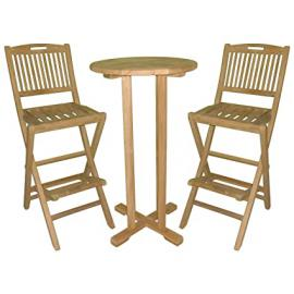 Charles Bentley Teak Bar Table & Chairs Set Folding Wooden Garden Furniture