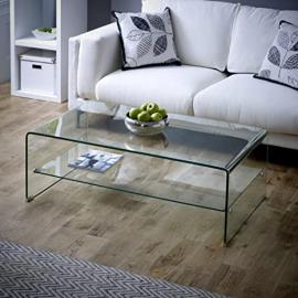 Geo-Glass Rectangular Coffee Table with Shelf (Toughened Safety Glass)
