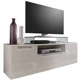 Furnline Alu-Line High Gloss Living Room Lowboard TV Stand, 160 x 52 x 40 cm, White