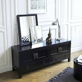 Solid Mahogany Wooden TV Stand Painted Black Bedroom Living Room 140 cm