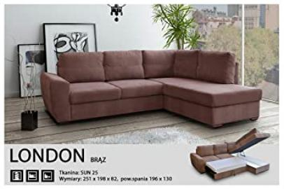 CORNER SOFA BED-LONDON BROWN - FABRIC-EXTRA SOFT - ELASTIC- HIGH QUALITY SILICONE FOAM (251 CM, 198 Centimeters)