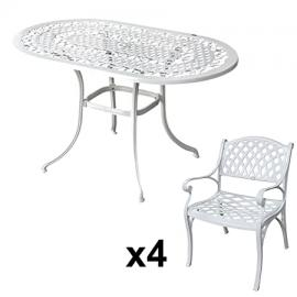 Lazy Susan Furniture - Elise 136 x 81 cm Oval 4 Seater Cast Aluminium Garden Set - White (Kate chairs)